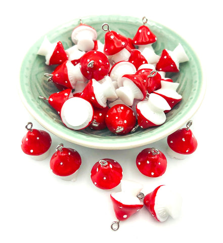kawaii red and white spotted mushroom toadstool resin 3d charm pendant charms uk cute craft supplies mushrooms