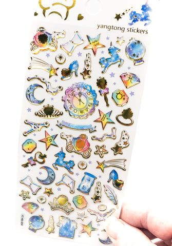 crystal gold foil puffy stickers princess cinderella stickers planner decoden