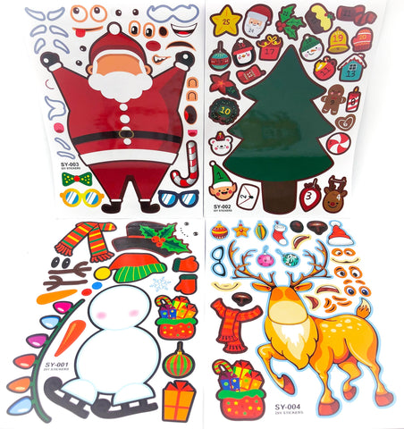 christmas build your own make a character fun sticker sheets for kids festive snowman reindeer santa tree uk cute stationery gift gifts stocking fillers advent