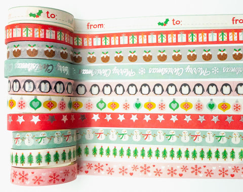 10mm washi tape tapes christmas festive nordic retro designs red blue green turquoise uk craft supplies stationery planner addict pink penguin snowmen foil foiled to from baubles design