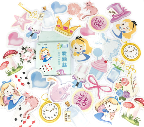 kawaii alice in wonderland mini sticker box of 45 stickers cute style stickers