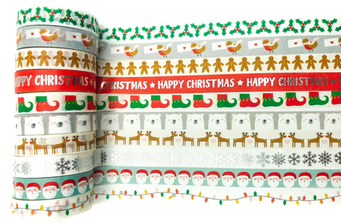 cute modern christmas 10mm narrow washi tape festive tapes santa polar bear holly uk stationery kawaii washis planner addict supplies