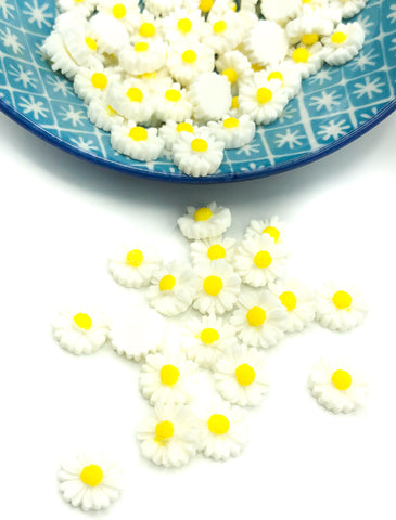 11mm white resin daisy daisies flower fb flat backs flowers