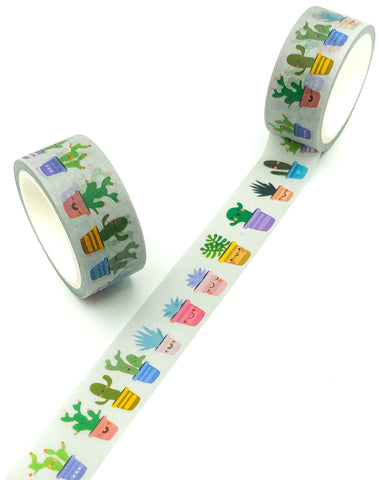 cactus pot plants cacti 5m washi tape cute stationery uk kawaii tapes planner supplies