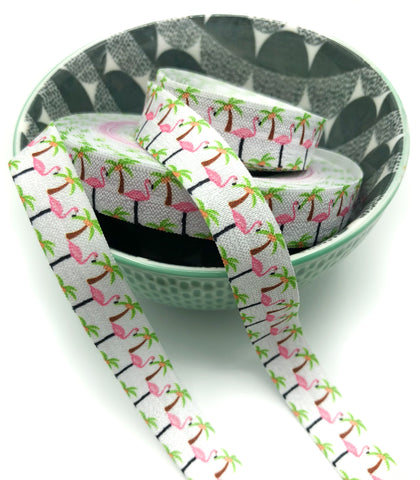 flamingos and palm trees elastic 15mm ribbon on white foe flamingo