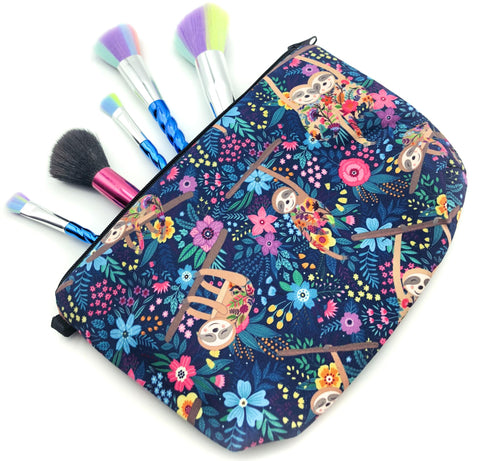 large roomy cosmetic bag pouch make up bags pencil case uk cute gift sloth sloths flowers floral blue pink purple jungle turquoise flower flowers fabric cases