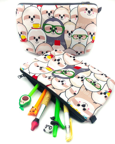 sloths with specs spectacles cute large cosmetic bag make up pouch pencil case kawaii cute gift gifts uk bags