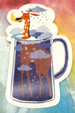giraffe in glass teacup postcard post card cards uk kawaii stationery store pretty animal animals