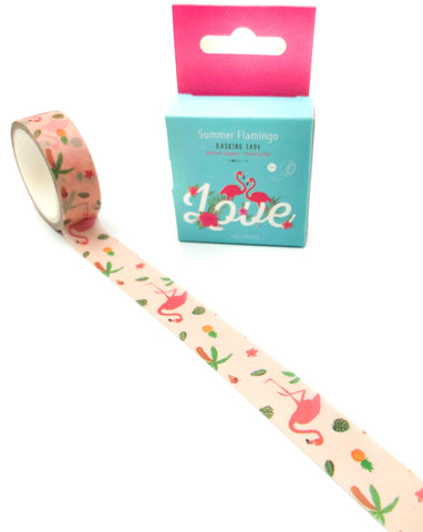 pink flamingo flamingos cute pretty washi tape boxed kawaii stationery tapes uk planner addict supplies 7m long