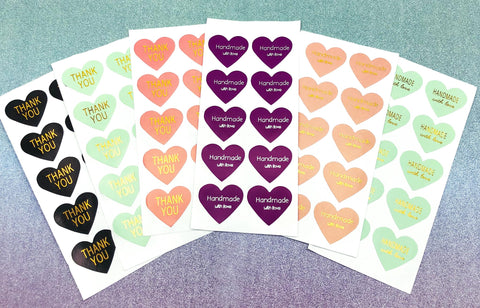 heart foil foiled stickers thank you handmade with love sticker hearts packaging supplies uk cute kawaii stationery