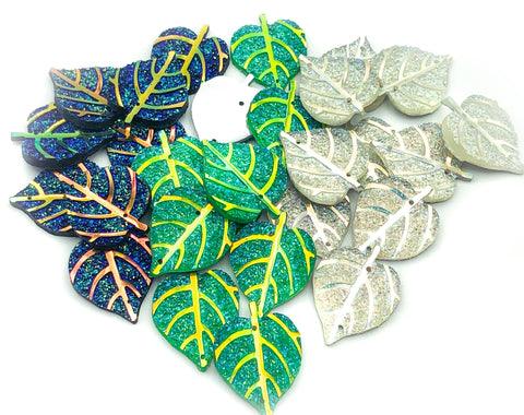 27mm glitter leaf leaves fb flat back embellishment uk cute kawaii craft supplies green silver blue resin ab iridescent