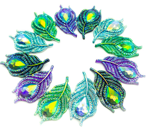 large peacock feather feathers ab iridescent fb flatback acrylic resin flat backs embellishments uk craft supplies glitter sparkly fbs