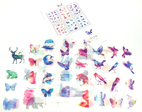 watercolour animals pretty sticker sheets stickers birds butterflies cute kawaii stationery store uk
