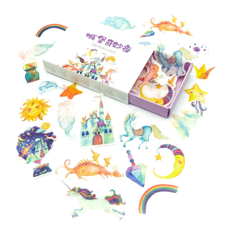 magical fairy tale fairytale translucent sticker flakes stickers box of 40 cute kawaii stationery uk