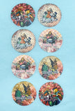 alice in wonderland sticker stickers seals 25mm round packing packaging supplies happy mail uk stationery cute kawaii