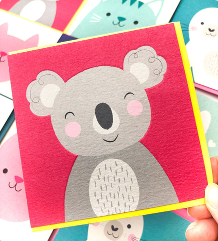 kawaii cute koala square greetings card blank uk stationery cards animals animal