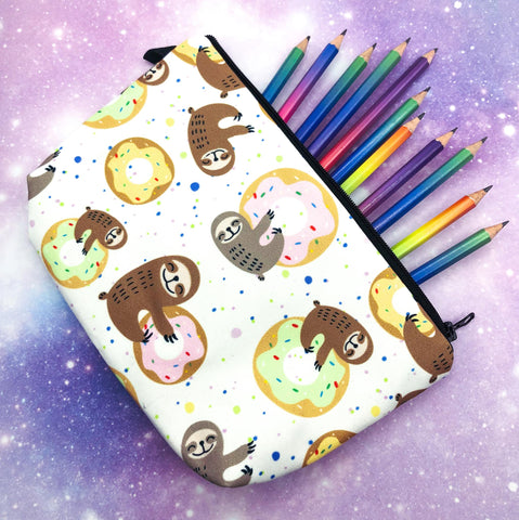 sloth and donut sloths with donuts doughnut cute large roomy cosmetic bag or make up pouch pencil case uk gift gifts