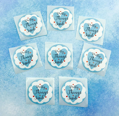 pretty things inside cute small 25mm round stickers sticker seals uk packaging stationery kawaii blue heart hearts  mailing