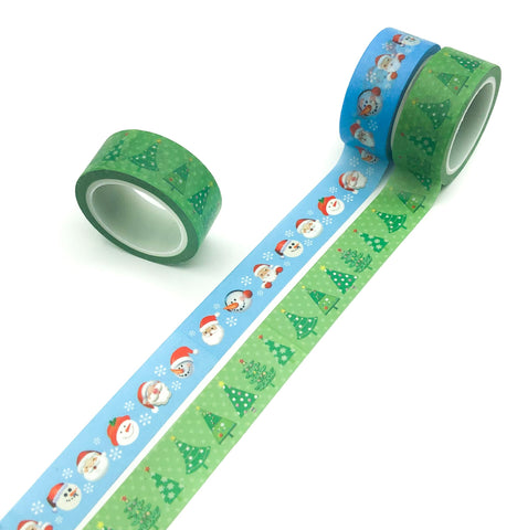 5m festive christmas washi tape roll blue santa and snowmen cute tree trees uk kawaii stationery supplies planner addict