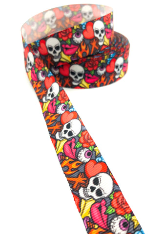 goth skulls skull halloween red and black roses ribbon grosgrain 22mm cute ribbons spooky gothic eyeball lips