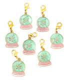 mint green and pink planner charm christmas festive snow globe turquoise mint and pink charms uk planner clips accessories cute kawaii gold