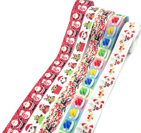 22mm 25mm christmas gorsgrain ribbon ribbons uk cute kawaii craft supplies santa owl owls snowman deer