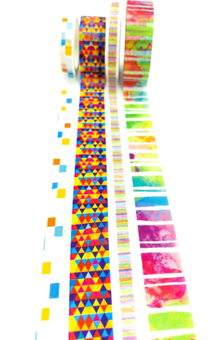 abstract rainbow colours bright washi tape tapes bundle stripes geometric aztec uk cute kawaii stationery supplies