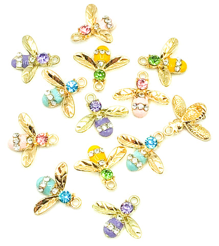 enamel gold tone bee charm charms rhinestone cute craft supplies bees metal uk