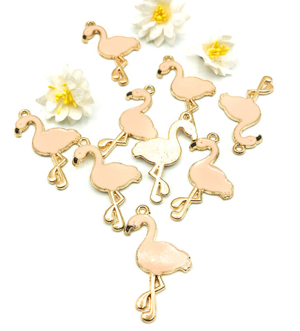 pale peach pink flamingo gold tone enamel charm 36mm charms