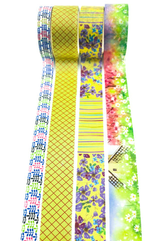purple and lime green washi tape tapes bundle uk cute kawaii stationery bundles floral flowers