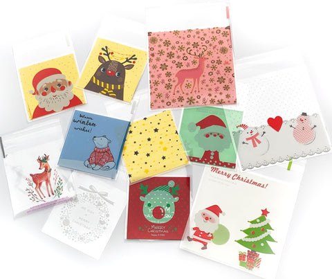xmas cello cellophane bags cute kawaii packaging materials supplies uk festive christmas deer santa rudolph gold foil bag bear snowmen