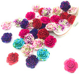 Bundle of 6 Large Rose Resin Flower FBs 20mm