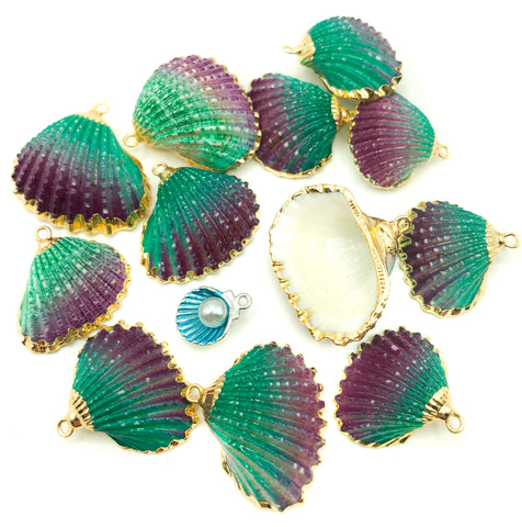 shell charm pendant large natural enamelled shells purple green gold charms enamel