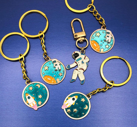 space galaxy round metal gold tone enamel keyring keyrings key ring handmade uk cute kawaii gift gifts planet rocket turquoise