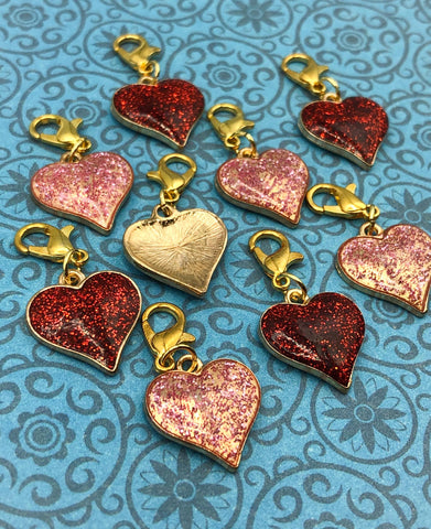 pink or red glitter heart hearts planner charm charms clip clips uk cute kawaii planning accessories gold tone metal stitch marker