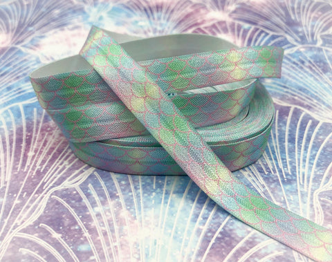 pastel mermaid scale scales pattern fold over elastic ribbon foe ribbons elastics pale rainbow pink blue turquoise uk cute kawaii craft supplies