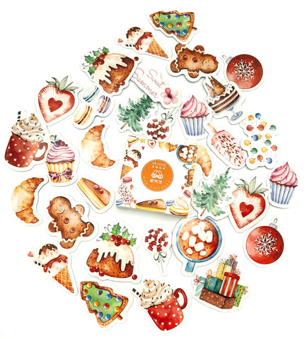 delicious food and treats cake christmas drink drinks festive sticker flake flakes box 45 glossy stickers uk kawaii cute stationery