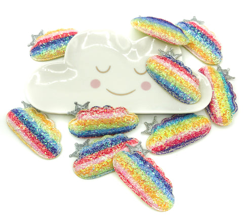 rainbow cloud glitter patch with silver crown 58mm fabric clouds