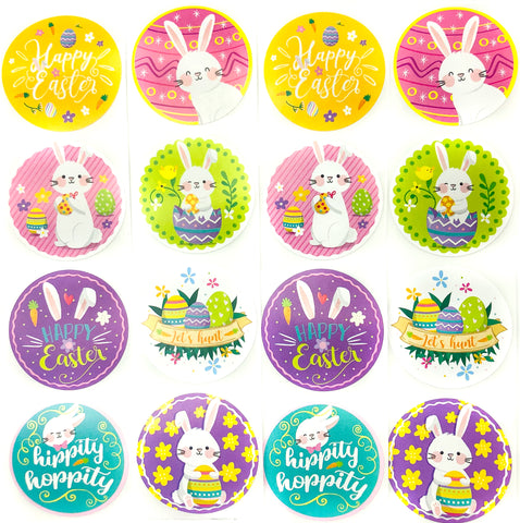 easter bunny and eggs 38mm round glossy stickers cute stationery uk kawaii sticker shop spring