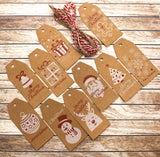 christmas kraft tags festive tag brown pretty with twine string pack uk cute craft supplies packaging materials