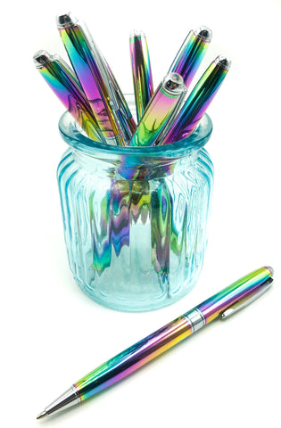 rainbow metal metallic ballpoint pen pens black blue red ink