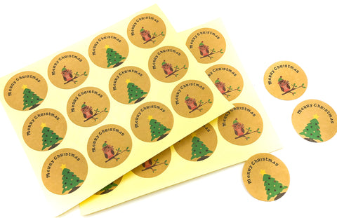 kraft brown 35mm round christmas stickers with owl and tree sheet of 12