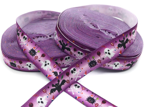 purple halloween 15mm wide elastic ribbon foe bats skulls ghosts spiders