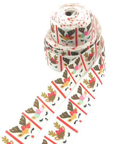 reindeer deer head heads 25mm wide grosgrain ribbon christmas ribbons yard