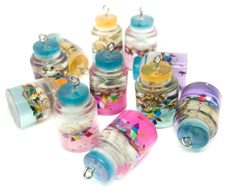 magic magical seashell bottle charm pendant resin glitter shells bottles charms