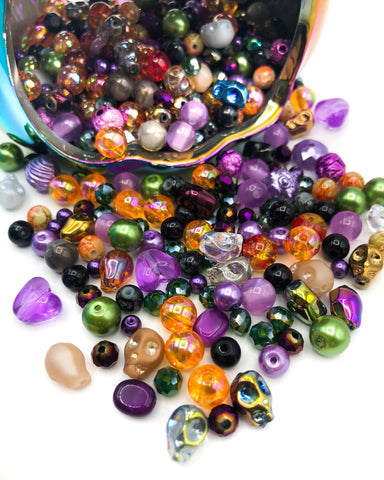 halloween bead beads bundle orange purple green black grey uk cute kawaii craft supplies bundles set glass acrylic resin bead