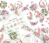 50 unicorn clear floral sticker flakes pack unicorns flowers stickers