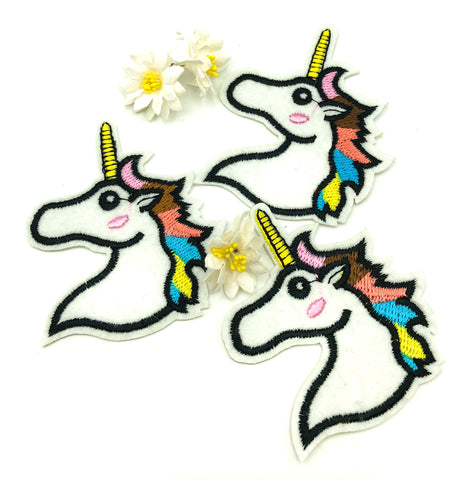 unicorn head rainbow mane iron on applique patch unicorns patches