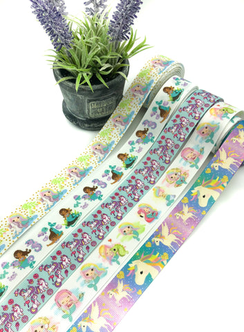 mermaid and unicorn grosgrain 25mm wide ribbon mermaids ribbons unicorns