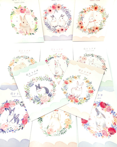 floral easter bunny rabbit postcard post card rabbit  flowers uk cute stationery postcards